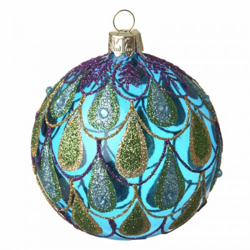 Julekugle i glas, Blue Peacock