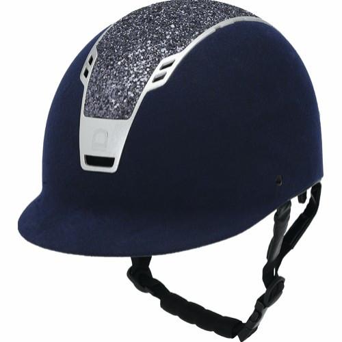 EQ Priority ridehjelm blå suede med glitter