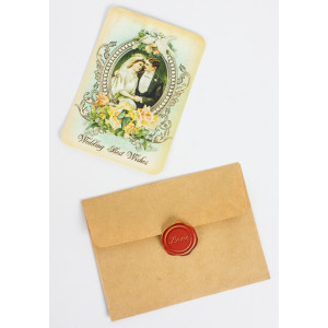 "Vintage lykønskningskort ""Tillykke med brylluppet"""