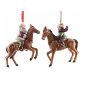 Ophæng med julemand eller barn på hest. 2 forskellige