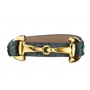 Armbånd, Alba Luxury Snake, grøn, forgyldt