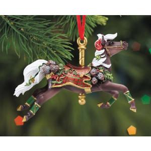 "Breyer ""Tartan Carousel Ornament"", julepynt. Håndmalet juletræspynt fra Breyer"