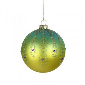 Julekugle i glas, Green Peacock