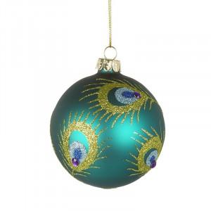 Julekugle i glas, Teal Peacock