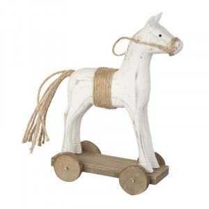 Hvid træhest på hjul