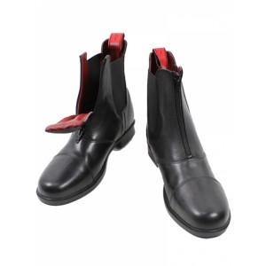 Mink Horse kort jodphur læder støvle med front lynlås