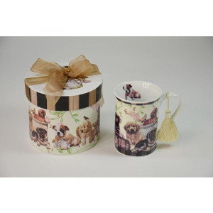 1 kaffekop med hundemotiv inkl æske