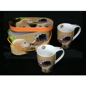 2 kopper med hundemotiv inkl æske