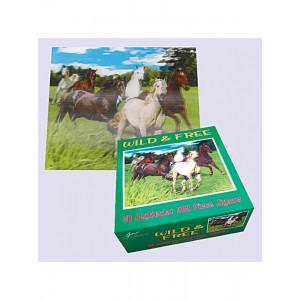 Puslespil med heste, Wild & Free, 3D. 500 brikker