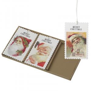 Til/fra kort med vintage julemænd, træ (uden stavefejl i Christmas ;o)