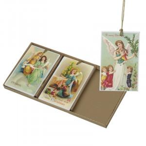 Til/fra kort med vintage engle, træ
