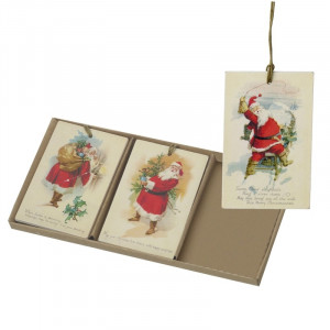 Til/fra kort med vintage julemand, træ