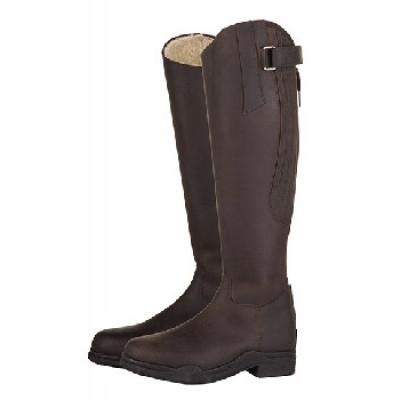 HKM vinter læderridestøvle, Country Arctic, standard længde/vidde. Brun